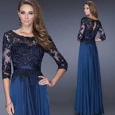 Perspective sexy blue lace sleeve long section <b>vestido mae da</b> ...