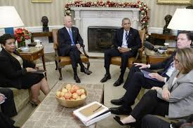 us president barack obama flanked by vice president joe biden and members of his national security team makes a statement on the san bernardino mass barack obama oval office