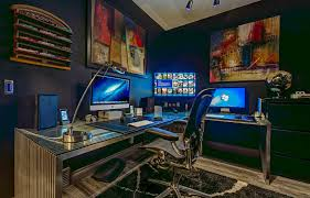 updated modern jewel box example of a trendy home office design in other with gray walls charming office design sydney