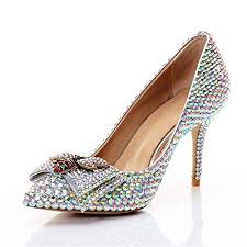 Yunhine <b>Womens</b> Rhinestone Pointed High Heels <b>Diamond</b>