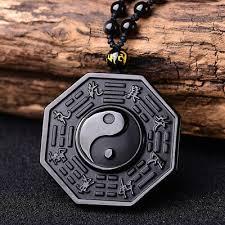 Black <b>Obsidian Necklace</b> Stone Pendant Chinese BAGUA Men's ...