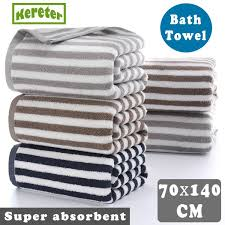 70x140CM <b>Thick Pure Cotton</b> Absorbent Soft Striped <b>Adult</b> Bath ...