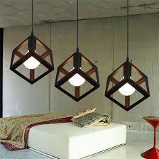 vintage pendant lights led lamp metal cube cage lampshade lighting hanging light fixture ceiling lamp black modern metal hanging office cubicle