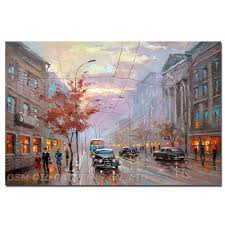 <b>High Quality Big</b> Size Impression Street Landscape Oil <b>Painting</b> on ...