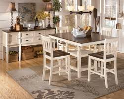 extension table f: whitesburg  piece square counter height extension table set in brown white by dining rooms outlet
