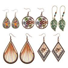 <b>Bohemian Earrings</b> Dangle 5 Pairs Vintage Drop Silver Tassel ...