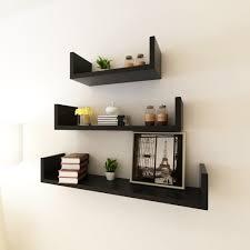 Kritne <b>3 Black MDF U-Shaped</b> Floating Wall Display Shelves Book ...