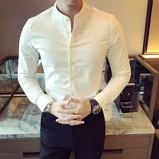 Men Long Sleeve White Shirt Black Shirt Slim Fit <b>Mandarin</b> Collar ...