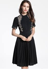 Buy NBRAND Short Sleeve Embroidery Hollow <b>Mesh Pleated Dress</b> ...
