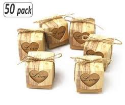 50pcs Love Heart Candy Box Rustic Wedding Gifts ... - Amazon.com