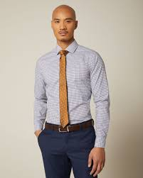 <b>Slim fit mini</b> blue check dress shirt | RW&CO.