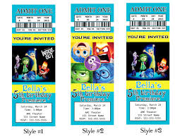 disney inside out movie invitation inside out ticket 128270zoom