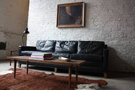 image of mid century modern leather sofa black black leather mid century