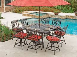 milan 9 pc cast aluminum gathering height set with 64 square table balcony height patio dining furniture