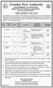 jobs opportunities in gwadar port authority karachi 2016
