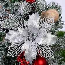 <b>5PCS</b> Artificial Christmas Flowers <b>Glitter Fake Flower</b> Merry ...