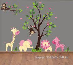Children Wall Decal <b>Tree</b> Swirl <b>Flower Tree</b> with <b>Owls</b> and <b>Birds</b> ...