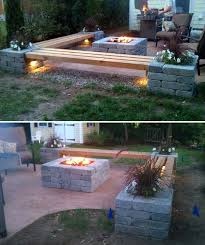 build a patio bench from wooden pillars and cinder blocks which comes with cute lighting and planters build easy diy lighting