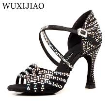 <b>WUXIJIAO</b> Silver Blue Rhinestone Latin Dance Shoes Women Salas ...