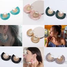 <b>Tassel earrings</b> Korean Fan shaped gold Hoop Earrings for Women ...