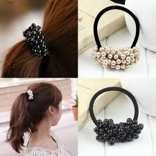 2016 New <b>Fashion Pearls</b> Black Elastics <b>Hair</b> Holders Rubberbands ...