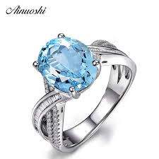 <b>AINUOSHI</b> 4 Carat Big <b>Oval</b> Cut 4 Prong Solitaire Ring 925 Sterling ...