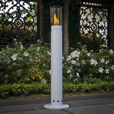 outdoor torch lighting. long standing cylinder shade with torch lighting effect outdoor t