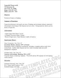 cv objective investment banking resume format