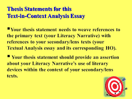 thesis statements for this textincontext analysis essay  your
