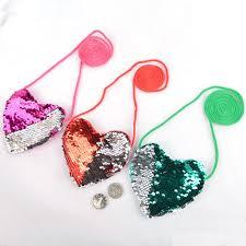 1Pc <b>Kids</b> Toddler <b>Girls</b> Sequins Heart shaped Zipper Cross body ...