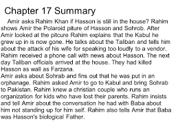 kite runner chapters marc tim steve chapter summary after chapter 17 summary amir asks rahim khan if hasson is still in the house