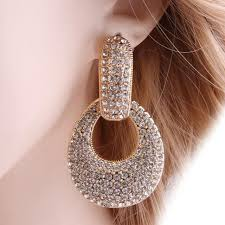 <b>Neefu Wofu</b> Water Drops Rhinestone Earrings Crystal Earring Big ...