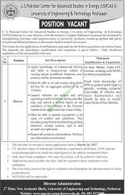 us center for advanced studies uet peshawar energy driver us center for advanced studies uet peshawar energy driver job 2017