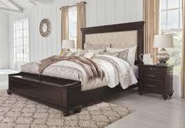 Brynhurst Dark Brown <b>4 Pc</b>. King Upholstered Bed with Storage ...