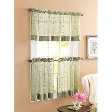 Kitchen Curtains At Walmart Better Homes And Gardens Linen Leaf 3 Piece Kitchen Curtain Set