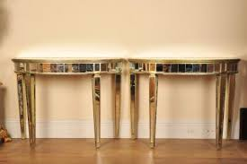 pair mirrored console tables art deco half moon art deco mirrored furniture
