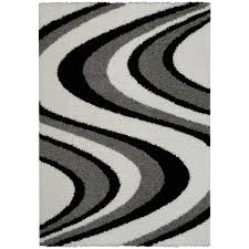 maxy home shag picasso striped wave black white grey area rug 67 x black white rug home