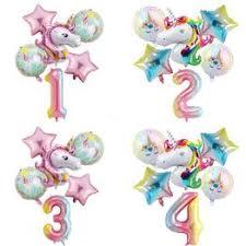 6pcs/lot Rainbow Gradient Unicorn Balloon 32 Inch Number ... - Vova