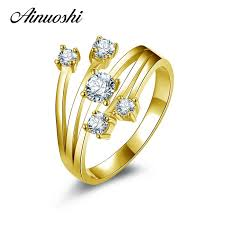 AINUOSHI <b>10K Solid</b> Yellow <b>Gold</b> Wedding <b>Ring</b> Special Design ...
