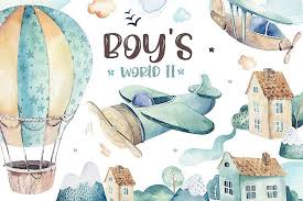 Boys collection II. In the sky! | Цветочные иллюстрации ...