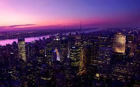 lights york city new york city sunset purple lights tall buildings skyscrapers panaroma