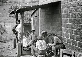 vintage everyday black and white photos of west virginia coal card gambling in center of town