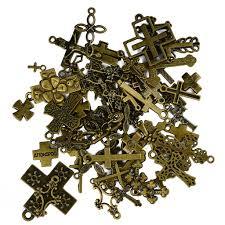 Много 50шт Ассорти антикварной бронзы крест прелести ...