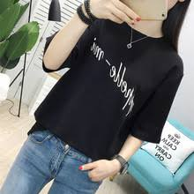 summer women t shirts 2019 new casual black short sleeve o neck letter print loose t shirts