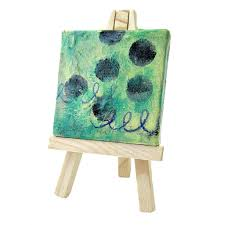 miniature original abstract acrylic painting on 2x2 canvas with easel soft sea created by rene acryclic painting soft