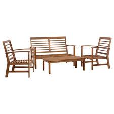 vidaXL Solid Teak Wood <b>Garden</b> Lounge <b>Set 4 Piece</b> Outdoor Patio ...