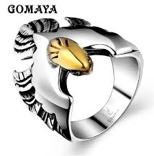 <b>GOMAYA</b> Mens Golden Eagle <b>Personality</b> Ring Hip Hop Biker ...