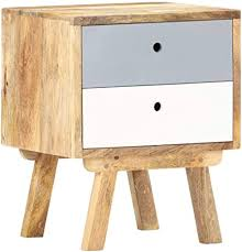 Tidyard <b>Bedside Cabinet</b> | 2 Drawers Storage Nightstand | Solid ...