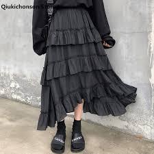 <b>Qiukichonson</b> Midi Long Skirts Womens Maxi Skirt Goth Lolita ...