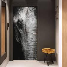 Big Elephant Face 3D Prints Waterproof Entire Door Sticker Creative ...